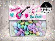 Printable Valentine Treat Candy Bag Topper You Rock Kids