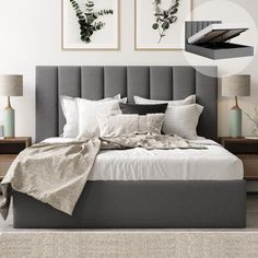 Lift Storage Bed, Bed Frame With Storage, Storage Drawers, Grey Storage Bed, Bed Designs With Storage, Bedroom Storage, Grey Headboard, Grey Bedding, Grey Upholstered Bed