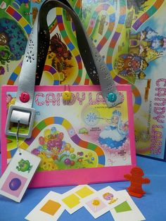 Upcycled Pink Candy Land Board Game Purse Novelty Gift made from Candy Land game board