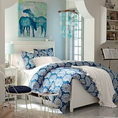 Punchy Paisley Duvet Cover + Sham with white coverlet and euro shams