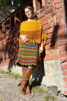 Craft Candidate: Virkattu poncho ja siksak-neulehame - Crocheted poncho and a knitted zigzag skirt