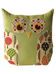 "Create an adorable owl pillow or purse with this fun and easy project. You will have so much fun mixing and matching fabrics and seeing the project come together into a decorative owl pillow or a sweet owl purse. Finished size is 11"" x 13""."