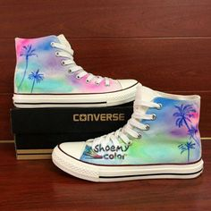 a51747ded34f16 Colorful Hand Painted Converse Shoes Coconut Palm Tree Canvas Sneakers