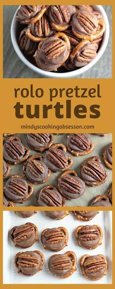 Rolo Pretzel Turtle Bites - Pretzel Dessert İdeas and Tips Köstliche Desserts, Holiday Baking, Christmas Desserts, Delicious Desserts, Dessert Recipes, Candy Recipes, Holiday Recipes, Cookie Recipes, Christmas Snacks