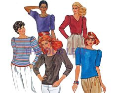 Sewing Pattern for 80s Top with Puff Sleeves & Neck Variations, Butterick 4109 #80sFashion #1980sTops #PlusSizeFashion #FallWardrobe #TheOldLeaf