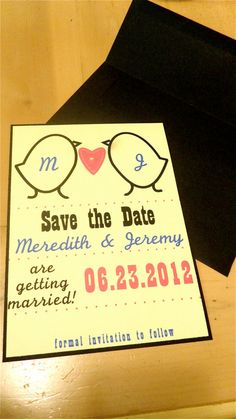 LoveBirds Save the Date Invitations by BlueGreenAqua on Etsy, $2.50