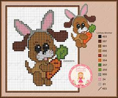 Easter dog with carrot Cross Stitch Baby, Cross Stitch Animals, Cross Stitch Patterns, Stitch 2, Brick Stitch, Easter Cross, Raining Cats And Dogs, Dog Crafts, Bugs Bunny