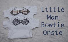 Shwin: Little Man Bow-tie Onsie tutorial... revamp just a bit. Cute baby shower gift.