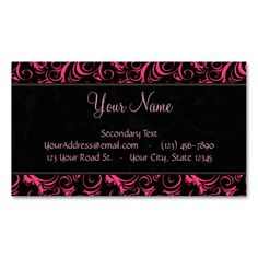 Pink on Black Floral Wisps, Stripes with Monogram Business Card Template