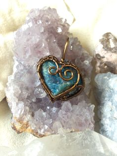 SOLD! Lovely wire wrap heart pendant made from blue apatite. MAde by Fire & Wire