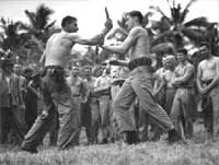 Original 1st Marine Raiders in training ... knife fighting  Only THREE of the Original 1st Marine Raiders survived WWII ... replacements often call themselves 1st Marine Raiders ... but of the original group organized at Pearl under Red Edson, only 3 survived ... my father was one of them ... Red and Chesty Puller would drop by occasionally when he was in town and they would chat for hours. . to me, they were 'funny' men who laughed heartily ...my father was a sniper under Red. Chesty Puller, Marine Raiders, Learn Hebrew, Ww2 Photos, Us Marines, Martial Artist, Special Forces, Beach Pictures, Marine Corps