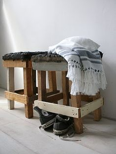 scrapwood benches in my bedroom with an  #Hammam towel from #VTWonen and my beloved #Allstars