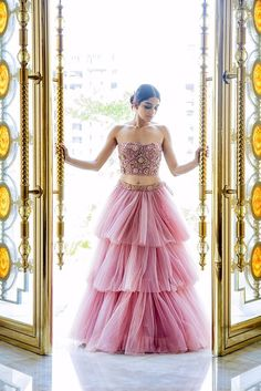 2018 Wedding Dress Trends For Brides Indian wedding dress trends-ruffled lehenga skirts with off shoulder blouse in pastel colors beautiful! 2018 Wedding Dresses Trends, Wedding Bridesmaid Dresses, Prom Dresses, Net Dresses, Wedding Skirt, Girls Dresses, Party Wear Lehenga, Bridal Lehenga, Indian Dresses