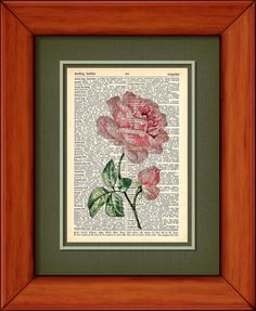 Dictionary Art Print  Soft Pink Rose  6 3/4 x 9 3/4 by PagesOfAges