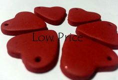 6 Flat Heart Charms Red  Ruby Polymer Clay by LowPriceSupplies