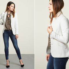 Cute jeans and jacket-but I need the jacket in different color. Shirt has a cute cut, but no animal print for me please.