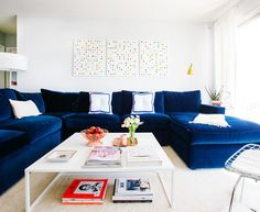Gorgeous blue sectional sofa Transitional Living Room