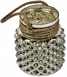 Antiqued Silver Glass Storage With Rope Handle