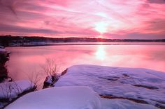 this scene was taken just after a snowstorm dropped several inches in northern Arkansas, a relatively rare event. i found some snow-covered cliffs at Greer's Ferry lake right at sunset. This lake is in Heber Springs, Arkansas. Winter Sunset, Winter Love, Heber Springs Arkansas, Red River, Little Rock, Missouri, Beautiful Pictures, Scenery, In This Moment