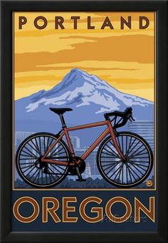 Portland, Oregon, Mountain Bike Scene Posters by Lantern Press at AllPosters.com Portland Oregon, Mt Hood Oregon, Portland City, Oregon Mountains, Illustrations, Travel Posters, Wpa Posters, Sports Posters, Travel Ads