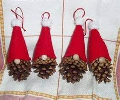 Christmas Gnome Ornament - so simple - a pine cone, felt and small pom poms!