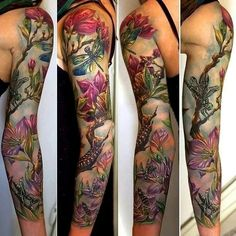 Dragonfly, caterpillar, grasshopper and flowers; full sleeve realism by Rom Azovsky