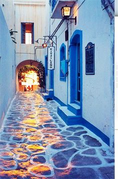 Reflections in the alley ~ Paros Island Greece Art Architecture