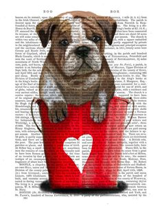 Bouledogue, seaux d'#amour, Art Print rouge de FabFunky sur DaWanda.com #SaintValentin