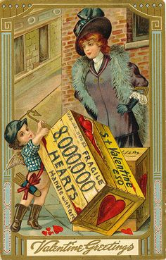 A box containing eight million hearts is presented in this antique chromolithographed Valentine postcard.  The card, bearing a penny postage stamp, is postmarked Hazleton, PA Feb. 14, 1912.