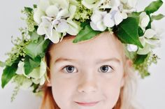 white and green flower girl floral crown