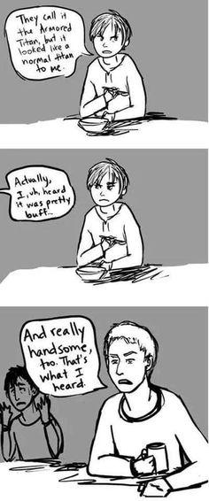 Reiner, was Eren ruining your self-image? I love Bertholdt in the last panel. XD XD XD