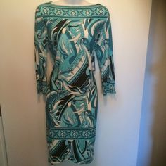 Brand new bluish tones Adrienne Vitadinni dress This beauty is perfect for any occasion. Brest area is 18 inches and it's 36 inches long. And Made in the USA of 95% polyester and 5% spandex. Firm unless bundled. Thank you for understanding. . Please no holds, trades or modeling. Thanks.  Adrienne Vittadini Dresses