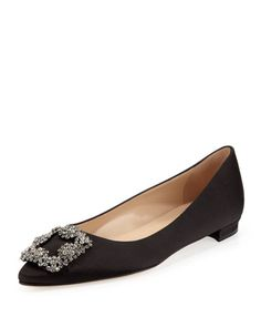 """Satin upper. Crystal buckle tops pointed toe. Topstitched collar. Leather lining and sole. 1/4"""" covered heel. """"Hangisi"""" is made in Italy."""