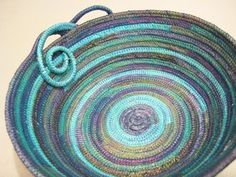 Handmade Impressions: My First Fabric Bowl  I really like this bowl! The aquas teals and purples and that coil!
