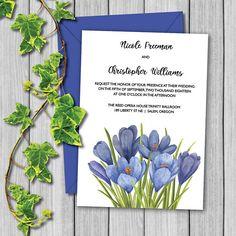 Digital Download Wedding Thank You Foldable Notecard Custom DIY Personalization Violet Blue Flowers Floral Crocus Editable Template