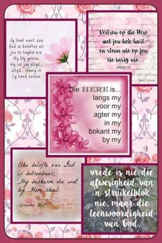 Bible Scriptures, Bible Quotes, Afrikaanse Quotes, Goeie More, Night Messages, Birthday Sentiments, Beautiful Collage, Prayer Verses, Women Of Faith