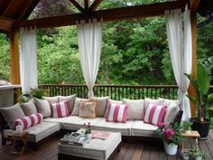 Outdoor curtains. love this setup!
