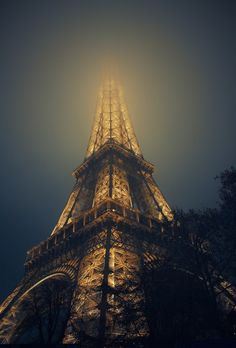 The Eiffel Tower in fog, Paris