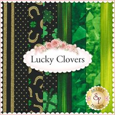 """Lucky Clovers 8 FQ Set by Kanvas Studio: Lucky Clovers is a St. Patrick's Day collection of fabrics by Kanvas Studio. 100% cotton. This set contains 8 fat quarters, each measuring approximately 18""""x21"""""""