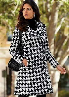 I'm loving this houndstooth coat with blue jeans of course . . . class with casual . . . that's my style