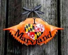 I Love Maryland hand painted crab shell