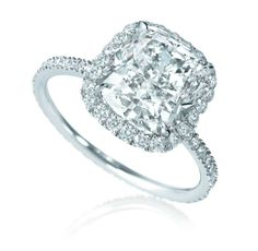emerald/cushion cut pave ring set in platinum