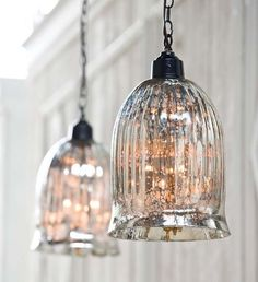 bell jar seeded glass light | Antique Mercury Glass Beaker Pendant Light $125.00