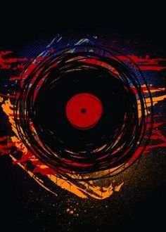 dj art vinyl records retro grunge modern poster canvas prints colorful oldies music paint scratches