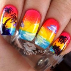Amazing beach nails! Such an eye-catcher art  Nails by @Holly Griego