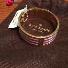 """Hinged bangle from Kate spade pink and red gold Really cute bangle from Kate """"no strings attached"""" kate spade Jewelry"""