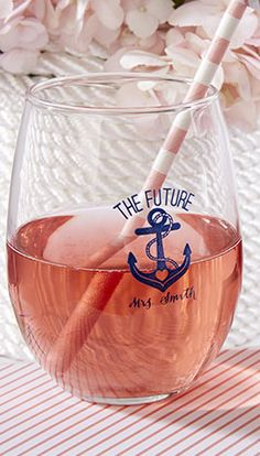 Cute glasses for a nautical inspired bridal shower
