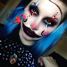 """""""MY FAVORITE THEME IS FINALLY HERE! Today's theme for the #mbmoctoberchallenge is Alyssa, I mean Clown Details below!  Foundation is @manicpanicnyc Goth…"""""""