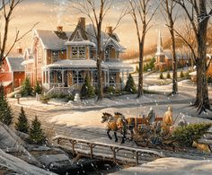 Here's another winter view from Terry Redlin. A snowman awaits a family returning home with Christmas tree & children nestled securely in a horse-drawn sleigh. Artist: Terry Redlin : : 1000 piece jigsaw puzzle: Finished size x Christmas Scenes, Christmas Past, Christmas Pictures, Winter Christmas, Winter Pictures, Illustration Noel, Christmas Illustration, Illustrations, Thomas Kinkade