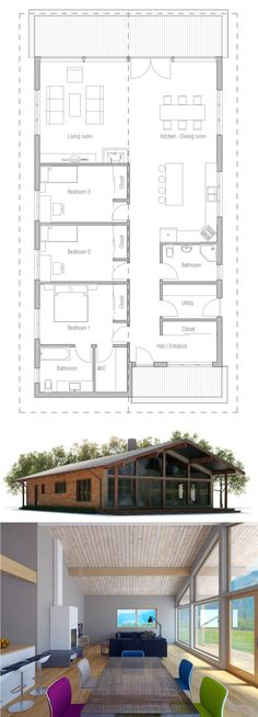 Narrow Modern House Plan, Single story home design One Level House Plans, Narrow House Plans, House Plans One Story, Modern House Plans, Modern House Design, Bungalow House Plans, House Floor Plans, Three Bedroom House Plan, Long House